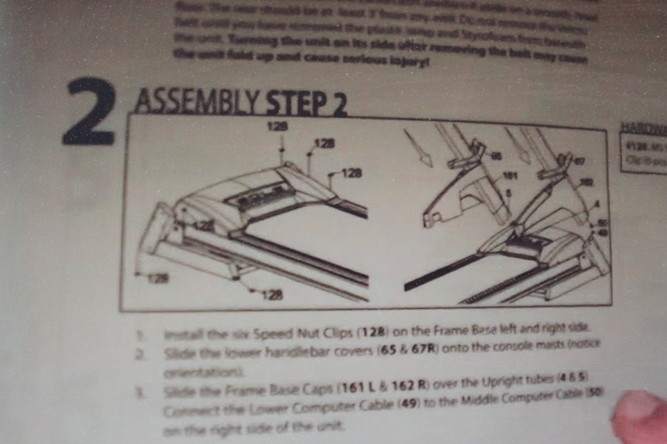sole f80 treadmill assembly step 2